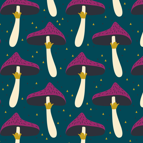 Harvest Mushrooms fabric by zesti on Spoonflower - custom fabric