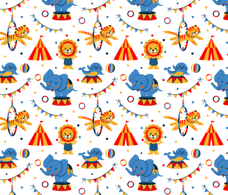 Funny circus fabric by olgart on Spoonflower - custom fabric