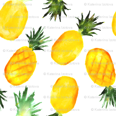Watercolor pineapples, large scale