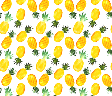 Watercolor pineapples, large scale fabric by katerinaizotova on Spoonflower - custom fabric
