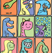 Cute Dinosaur Childrens Illustrations Set 1