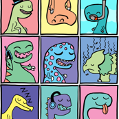 Cute Dinosaur Childrens Illustrations Set 2