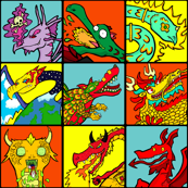 Cartoon Dragon illustration Tiles - Set 2