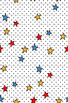 Little Black Polka Dots on White + Stars