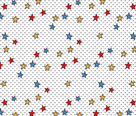 Little Black Polka Dots on White + Stars fabric by micklyn on Spoonflower - custom fabric