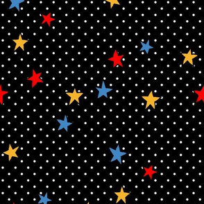 Little White Polka Dots on Black + Stars