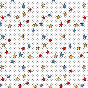Tiny Black Polka Dots on White + Stars