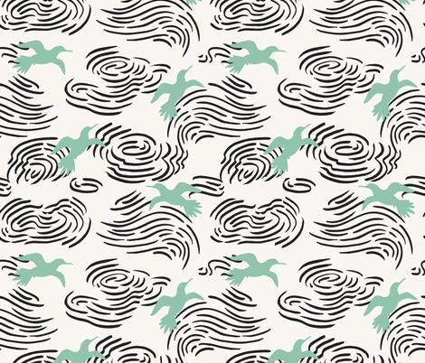 URBAN_GARDEN_BIRD_CLOUD_LIGHT fabric by holli_zollinger on Spoonflower - custom fabric