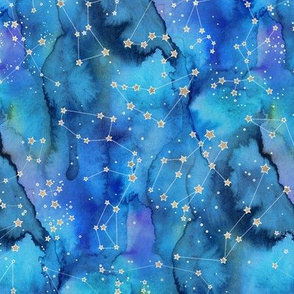 Blue Watercolour Constellations