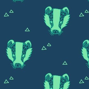 Mint geometric badgers on blue