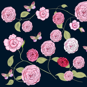 Damask Roses on dark blue
