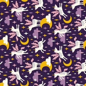 Unicorns in the sky in purple (small/dark) Rotated