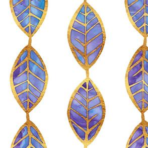 Purple Blue Watercolor Leaves w Gold Foil