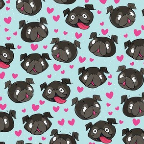 Black Pugs and Hearts