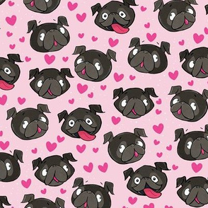 Black Pugs and Hearts Pink