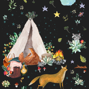 "54"" x 108"" Woodland Summer Camp / Charcoal Black"