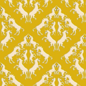 Custom Unicorn Damask on Golden Yellow