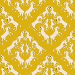 Custom Unicorn Damask on Golden Yellow