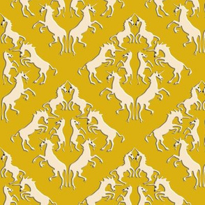 Custom Unicorn Damask on Golden Yellow with Darker Shadows