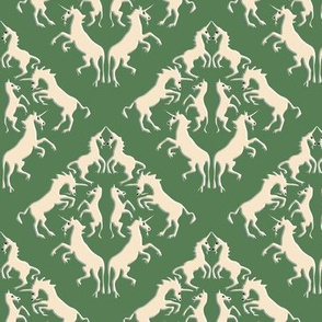 Custom Unicorn Damask on Bright Olive