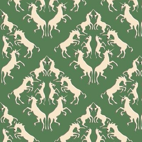 Custom Unicorn Damask on Bright Olive with Darker Shadows