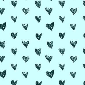Doodle hearts tiffany blue