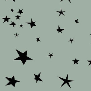 stars - black stars on dusty green kale || by sunny afternoon
