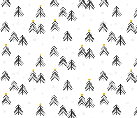 christmas tree - scandi christmas tree forest tree spruce black and white winter fabric by sunny_afternoon on Spoonflower - custom fabric