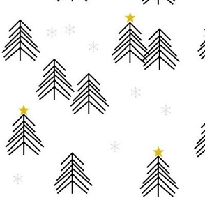 christmas tree - scandi christmas tree forest tree spruce black and white winter