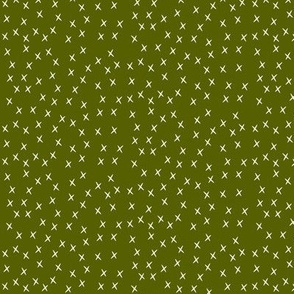 Tiny crosses - white on olive