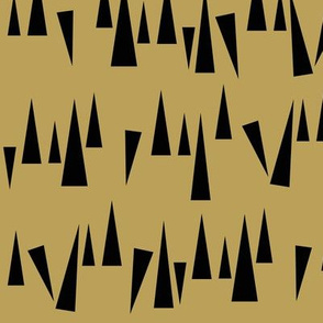 Scattered triangles - black on ochre shark teeth || by sunny afternoon