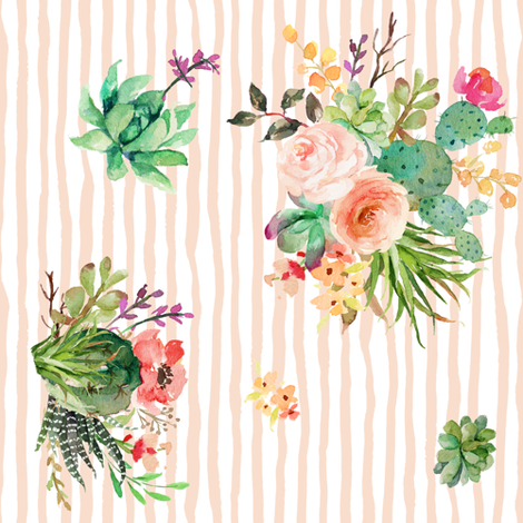 """8"""" She is Fierce Floral Stripes / Peach  / 90 degrees fabric by shopcabin on Spoonflower - custom fabric"""