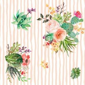 """8"""" She is Fierce Floral Stripes / Peach  / 90 degrees"""