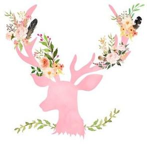 """8"""" Pink Floral Deer Garden"""