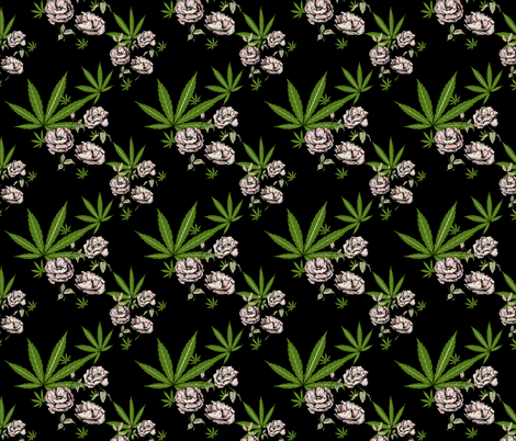 Cannababe Cannabis Floral  fabric by mischievousdesign on Spoonflower - custom fabric