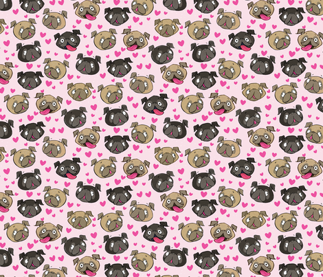 Fawn and Black Pug Love Hearts Pink fabric by laurafisk on Spoonflower - custom fabric