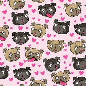 Fawn and Black Pug Love Hearts Pink