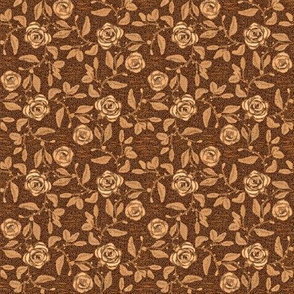 Old Fashioned Textured Meandering Roses in Shades of Brown