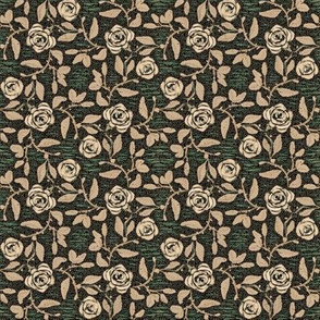 Old Fashioned Textured Meandering Roses in Beige Ecru and Green