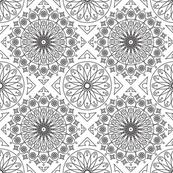 Black on White Geometric Floral Pattern
