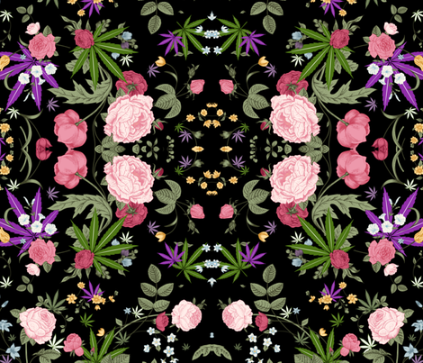 Cannabis Rose fabric by mischievousdesign on Spoonflower - custom fabric