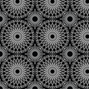 White on Black Geometric Floral Pattern