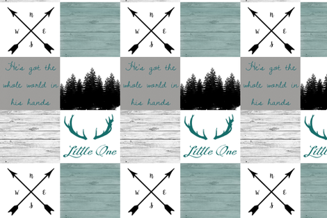 Teal little one scripture wholecloth 2 fabric by moonsheets on Spoonflower - custom fabric