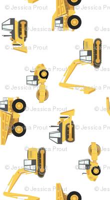 (large) construction trucks - yellow on white - 90