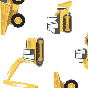 (large) construction trucks - yellow on white - 90