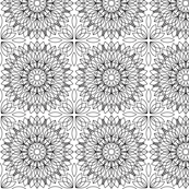 White on Black Floral Line Art Geometric Pattern
