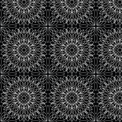 White on Black Floral, Geometric, Line Art Pattern
