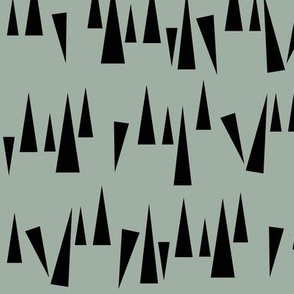 Triangles - Black on dusty green kale scaterred triangles || by sunny afternoon