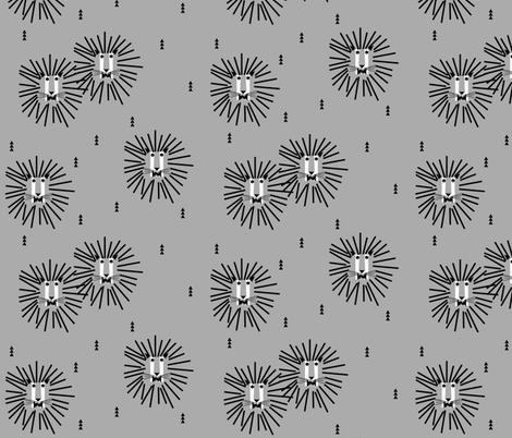 Lions - grey lion head geometric safari fabric by sunny_afternoon on Spoonflower - custom fabric
