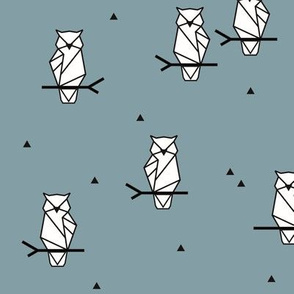 Owls - dusty blue geometric owl woodland animals forest || by sunny afternoon
